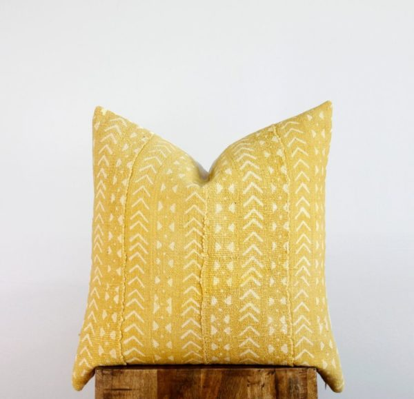 Mustard Mudcloth Pillow