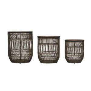 Lg. Hand-Woven Blk Bamboo/Rattan Baskets w/ Lid