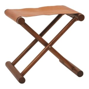 Folding Leather Stool w/ Teak Wood Legs