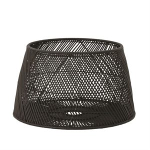 Rattan/Abaca Drum Table, Black