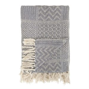 Cotton Blend Knit Throw, Gray