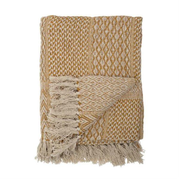 Cotton Blend Knit Throw, Beige