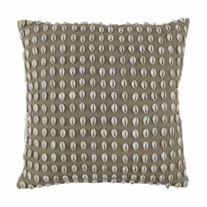 Linen Cowrie Pillow, Charcoal