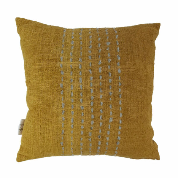 Cotton Stitch Pillow, Mustard
