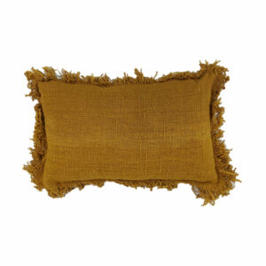 Cotton Fringed Pillow, Mustard