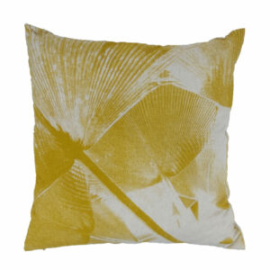 Linen Fan Palm Pillow, Mustard
