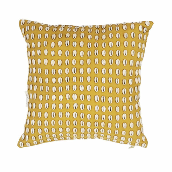 Cowrie Shell Pillow, Mustard
