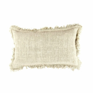 Cotton Fringed Pillow, Natural