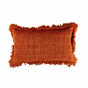 Cotton Fringed Pillow, Terracotta