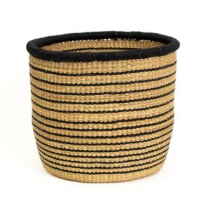 "8"" Large Striped Black Grass Planter"